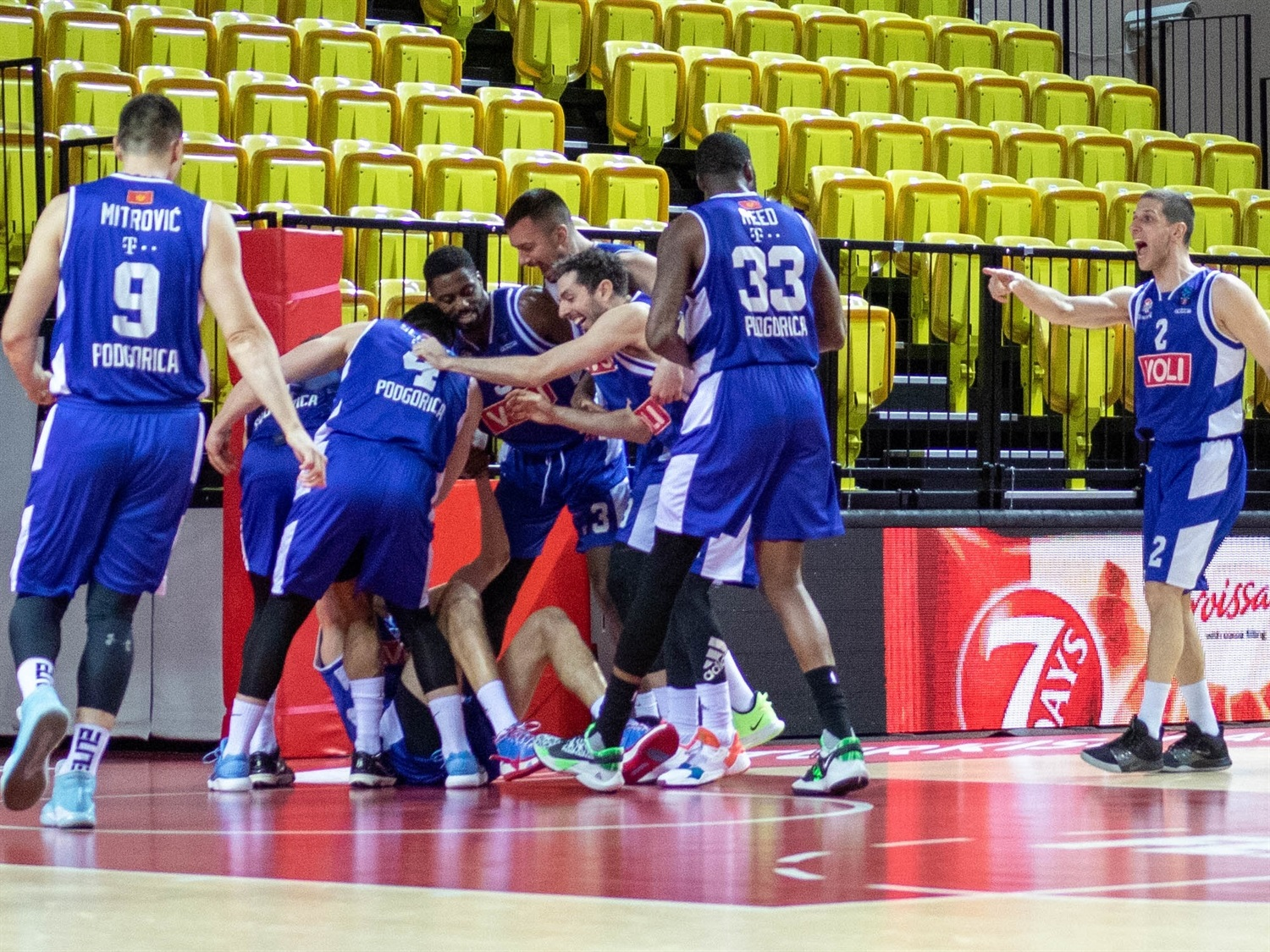 Buducnost VOLI Podgorica celebrates (photo Monaco) - EC20