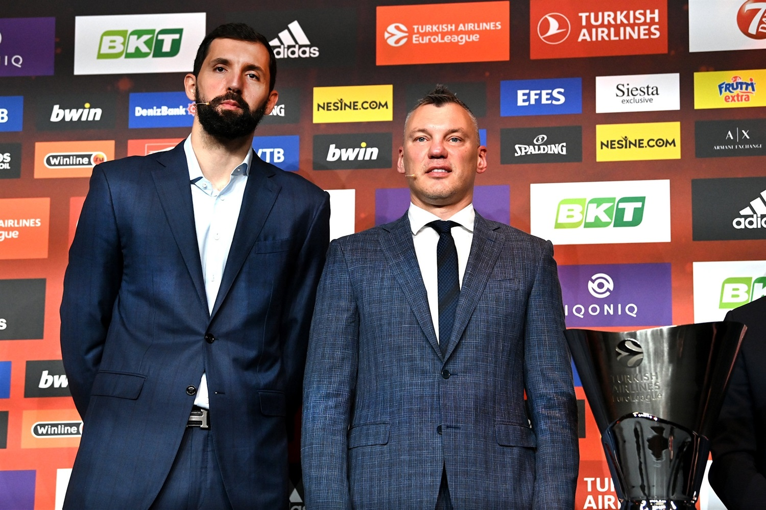 Nikola Mirotic and Sarunas Jasikevicius - FC Barcelona - Opening Press Conference - Final Four Cologne 2021 - EB20